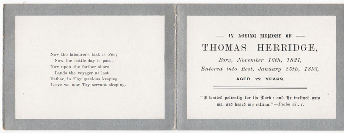 Thomas Herridge Funeral Card